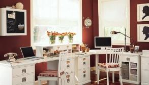 Çalışma Odası Kırmızı ve Beyaz Tonları