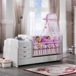 Bebek Odası Takımları Beyaz ve Pembe Kombin