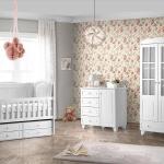 Bebek Odası Takımları beyaz ve çiçekli