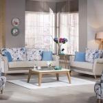 Bellona Oturma Grubu Modelleri 2016 Mavi Çiçekli Açık Kahve
