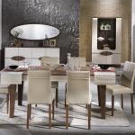 Bellona Yemek Odası Kahverengi Ahşap Krem Rekleri