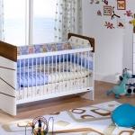 Erkek Çocuğu Beyaz Kahverengi Bellona Bebek Odası Takımı