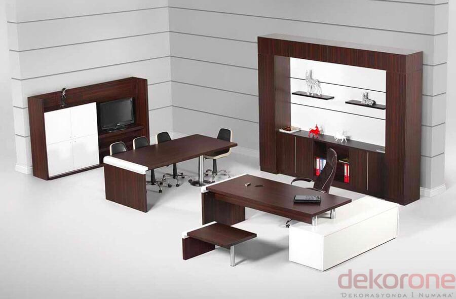 Ofis Dolap Modelleri Kahve ve Beyaz Ahşap
