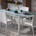 Beyaz Buzlu Cam Bellona Mutfak Masa ve Sandalye Takımı