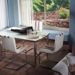 Beyaz Kahverengi Camlı İstikbal Masa Sandalye Yemek Takımı 2016