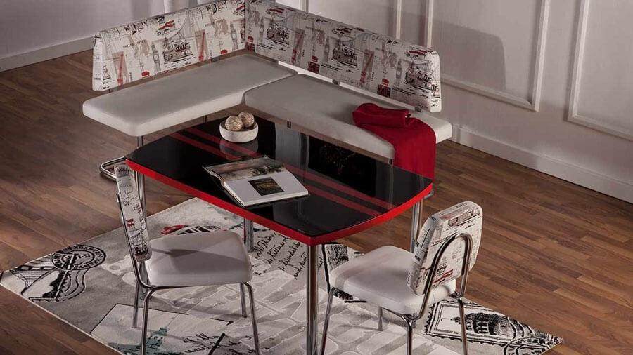 Kırmızı Siyah Camlı İstikbal Masa Sandalye Yemek Takımı 2016