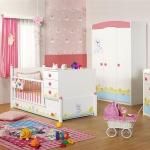 Kız Çocuğu Pembe Beyaz Bellona Bebek Odası Takımı