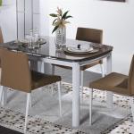 Kahverengi Beyaz Camlı Bellona Mutfak Masa ve Sandalye Takımı