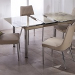 Kahverengi Camlı Açılır Bellona Mutfak Masa ve Sandalye Takımı