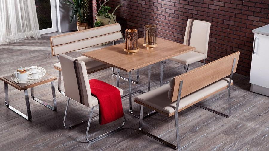Kahverengi Metal Ayaklı İstikbal Masa Sandalye Yemek Takımı 2016