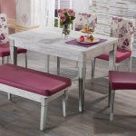 Mor Beyaz Çiçekli İstikbal Masa Sandalye Yemek Takımı 2016