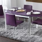 Mor Camlı Bellona Mutfak Masa ve Sandalye Takımı