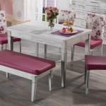 Pembe Çiçekli Ağaç Bellona Mutfak Masa ve Sandalye Takımı