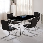 Siyah Camlı Metal Ayaklar Bellona Mutfak Masa ve Sandalye Takımı