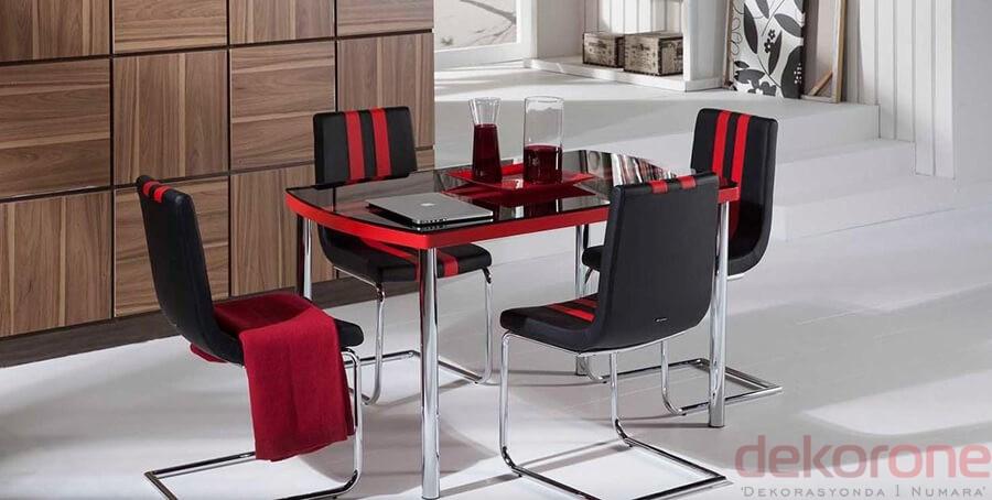 Siyah Kırmızı Camlı Bellona Mutfak Masa ve Sandalye Takımı