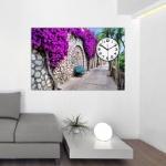 Çiçekli Dekoratif Tablo Saat Modeli