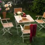 Kaverengi Katlamalı İstikbal Bahçe Masa ve Sandalye Takımı 2016