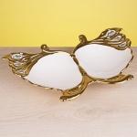Altın Renginde kelebek dekoratif tabak ve kase modeli