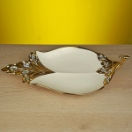 Altın rengi elmas taşlar dekoratif tabak ve kase modeli