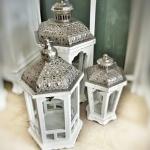 Gümüş Kaplama Ahşap Dekoratif Fener Modelleri