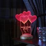 Kalpli sevgililer günü dekoratif gece lambası