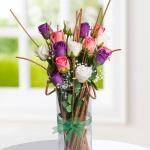 Mor Pembe Beyaz dekoratif yapay çiçek modeli