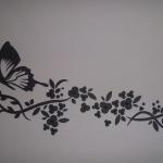 Siyah Baskı Kelebek Dekoratif Duvar Süsü