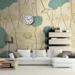 Yeşi Krem Çiçekler Dekoratif Duvar Kağıdı