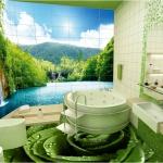 Yeşil Gül Desenli Dekoratif Zemin Kaplama