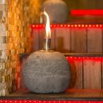 Yuvarlak Taş Kaplamalı Dekoratif gaz lambası