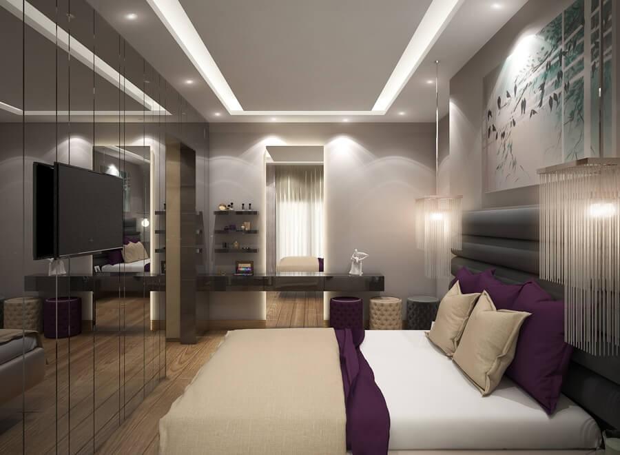 Beyaz Yatak Odası Dekoratif Led Aydınlatma Modeli