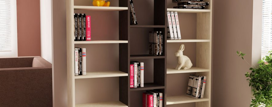 Krem Dekoratif Kitaplık Raf Modelleri