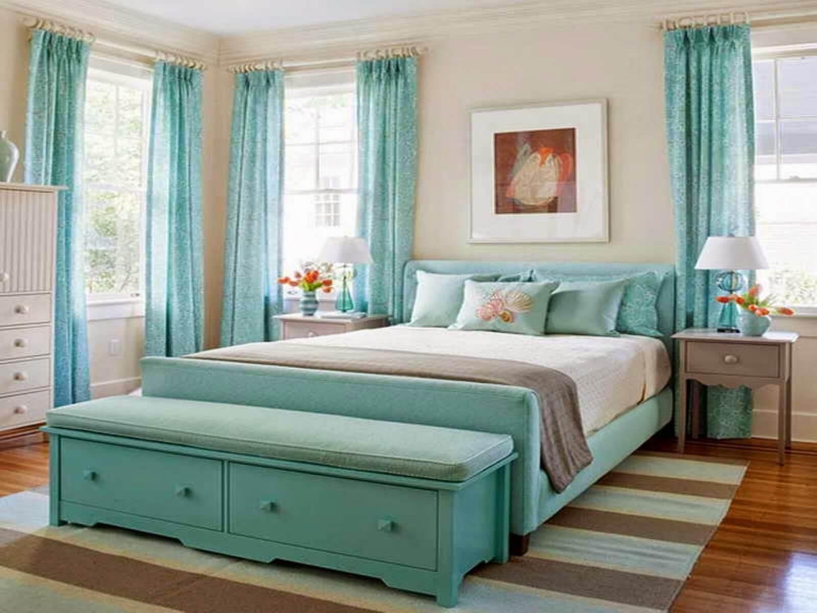 turkuaz-renk-yatak-odasi