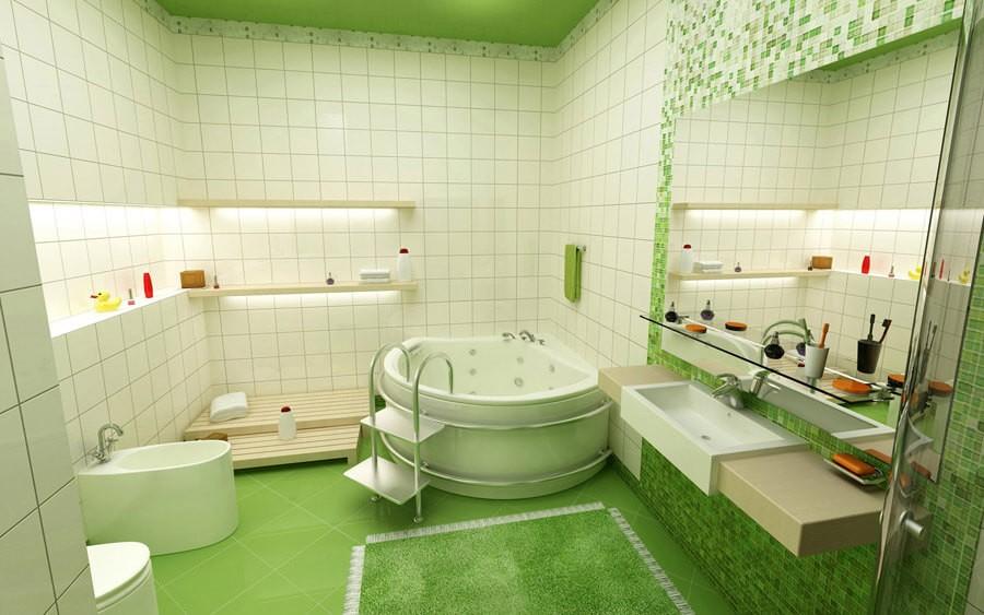 yesil-renk-banyo-dekorasyonu
