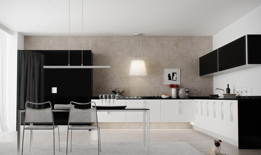 Siyah Beyaz Mutfak Dekorasyonu 2