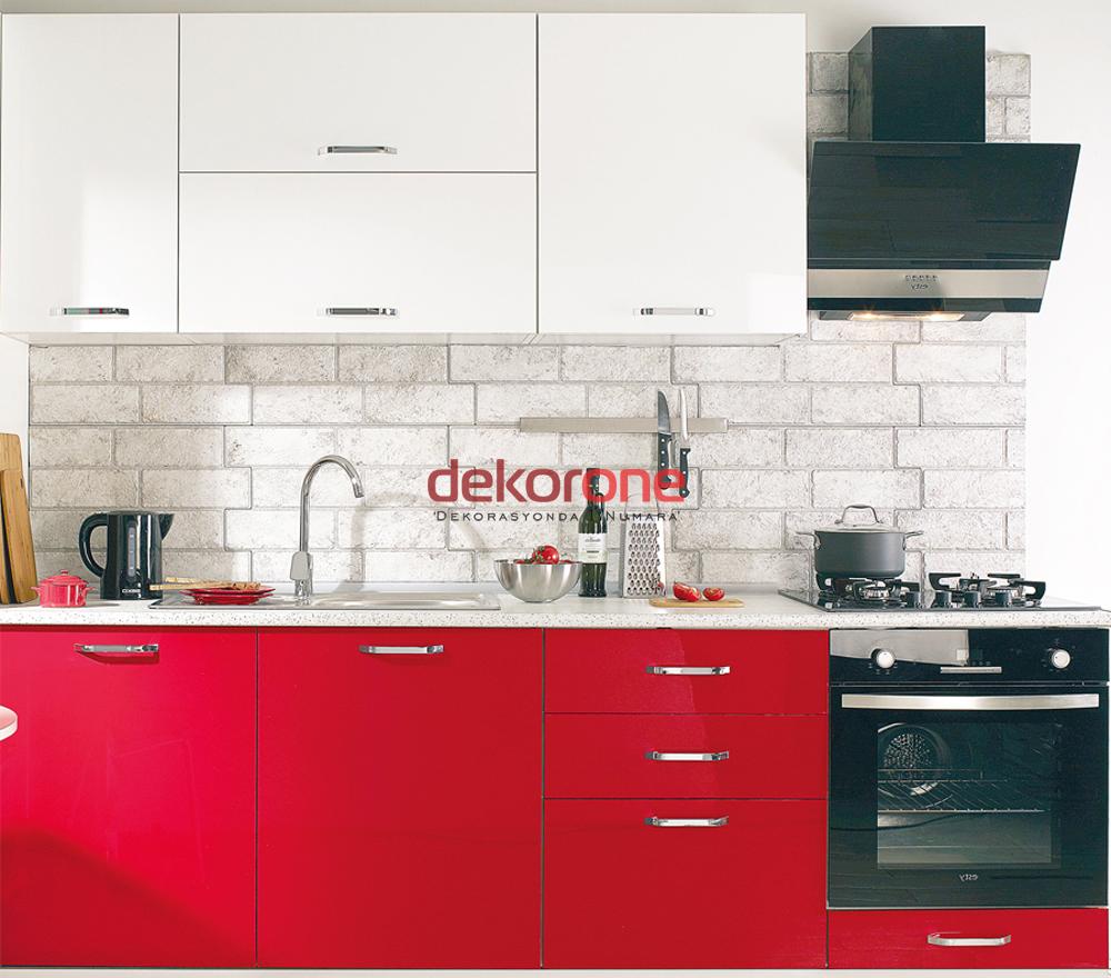 Kırmızı Beyaz 2018 Mutfak Dolabı Modeli