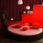 Kırmızı Siyah Yuvarlak Yatak Modelleri