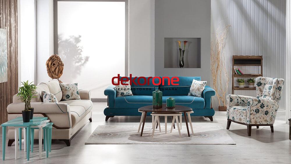 Mavi ve Krem Renk Dekorasyon