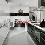 Siyah Beyaz 2018 Lüks Mutfak Dekorasyonu Modelleri
