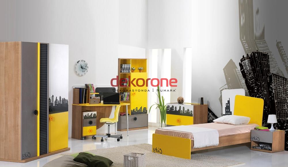 Sarı Gri Genç Odası Dekorasyonu