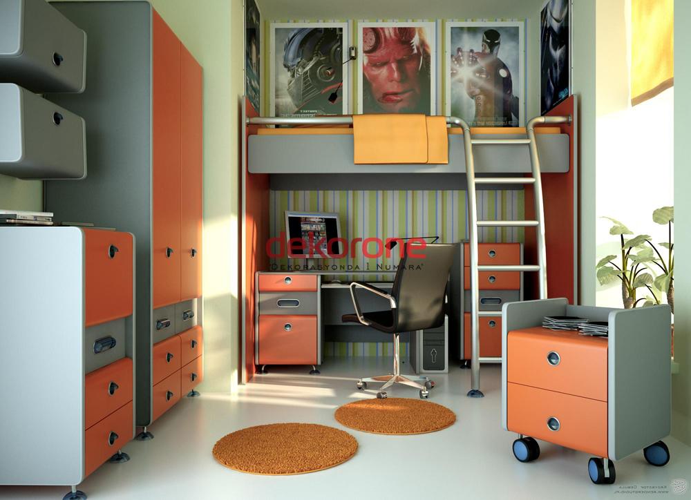 Turuncu Gri Genç Odası Dekorasyonu