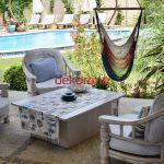 Dekoratif bahce mobilyalari- Beyaz bahce mobilya takimi
