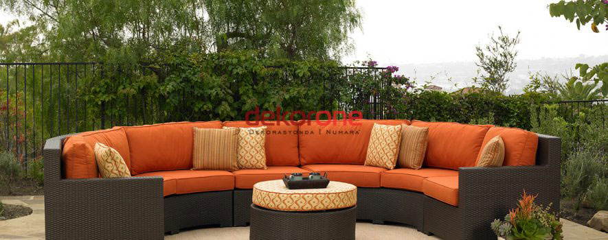 Dekoratif bahce mobilyalari- Turuncu Bahce Koltugu