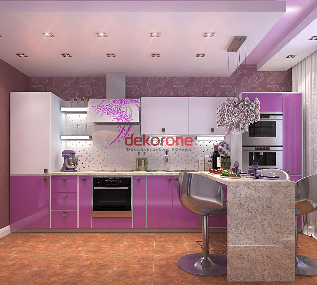 Fusya Rengi Mutfak Dekorasyonu 2