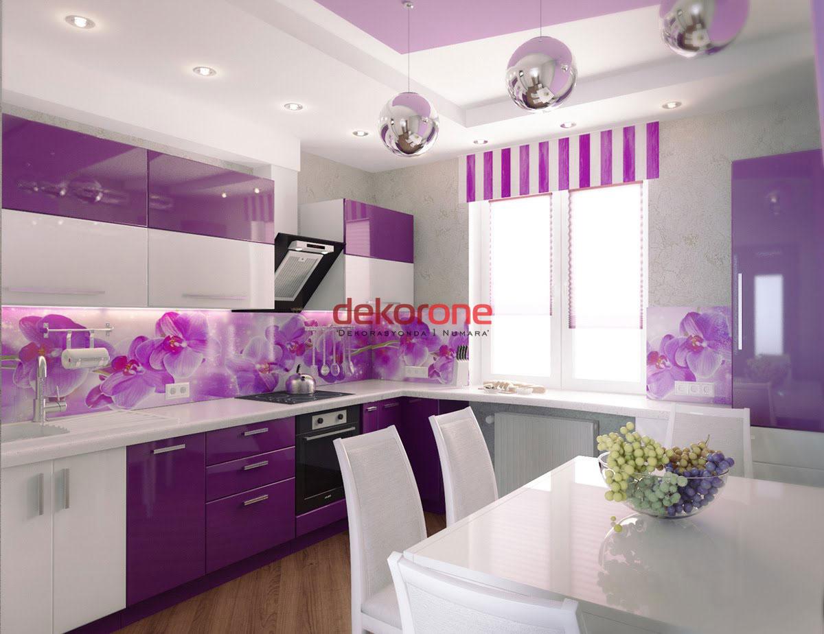 Fusya Rengi Mutfak Dekorasyonu 6