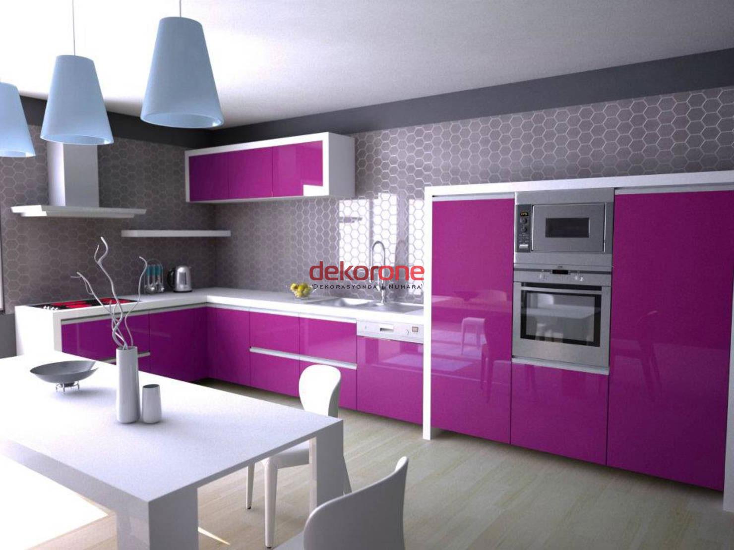 Fusya Rengi Mutfak Dekorasyonu 7