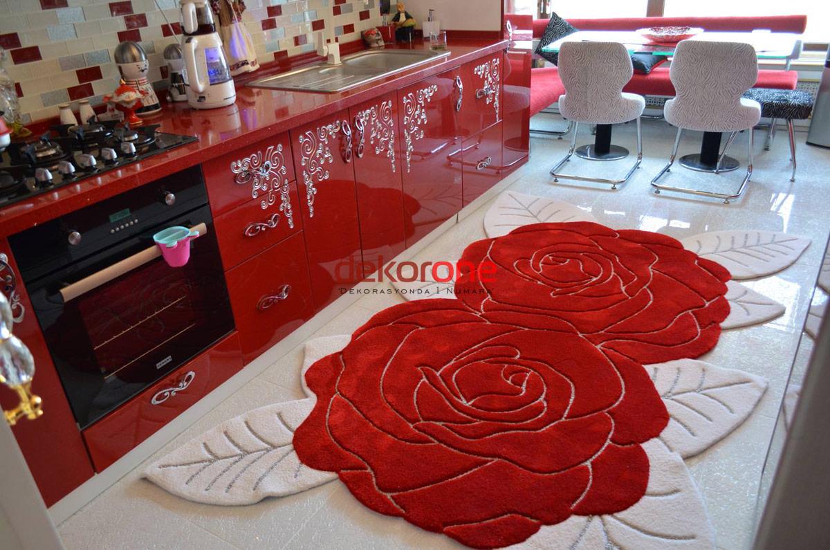 Mutfak Gül Kırmızı Renk Özel Tasarım Halı Modeli