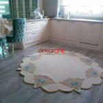 Mutfak Krem Renk Özel Tasarım Halı Modeli