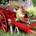 Bahçe Dekoratif Çiçek Arabası