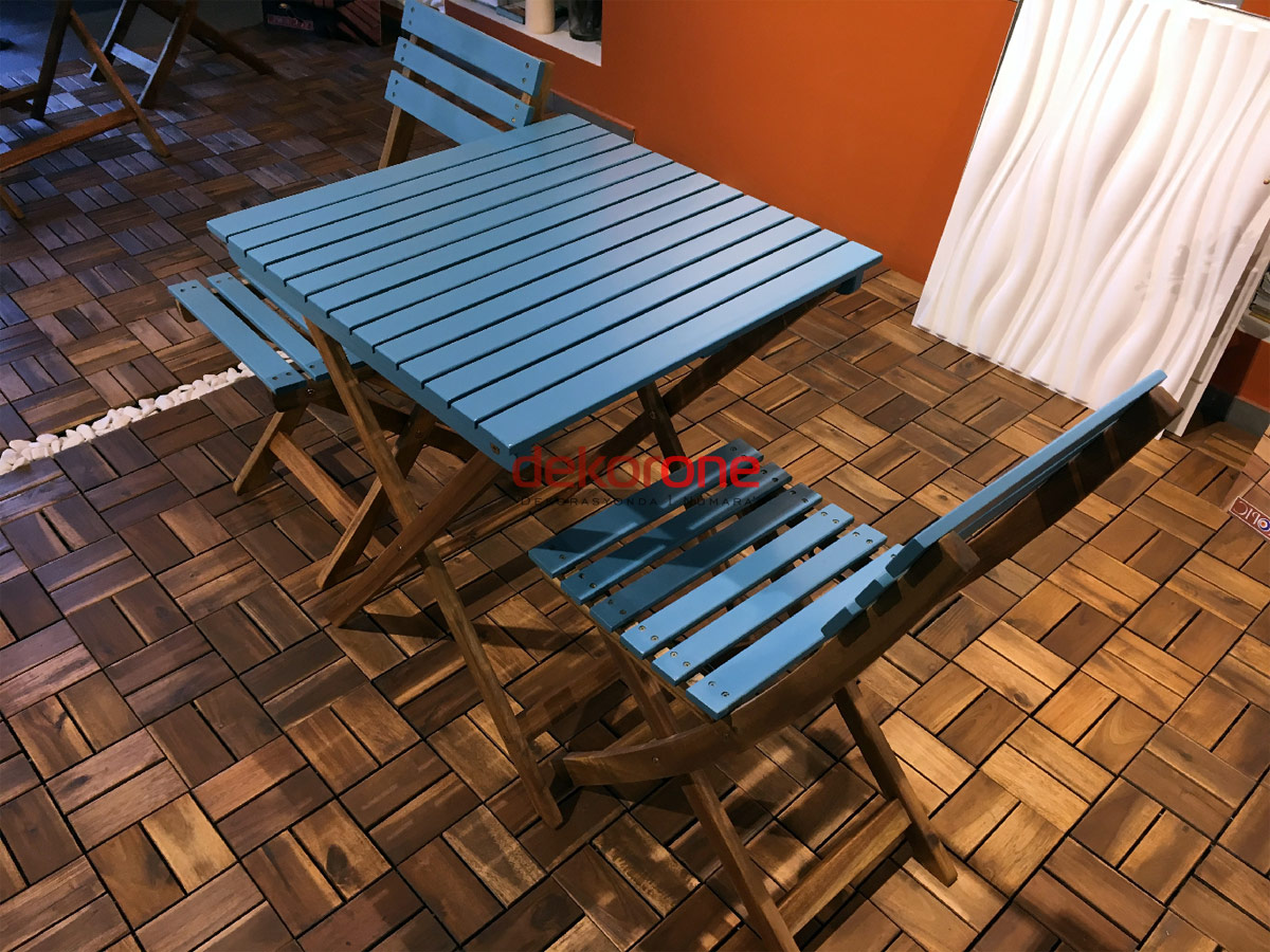 Balkon Mavi Masa ve Sandalye Takımı